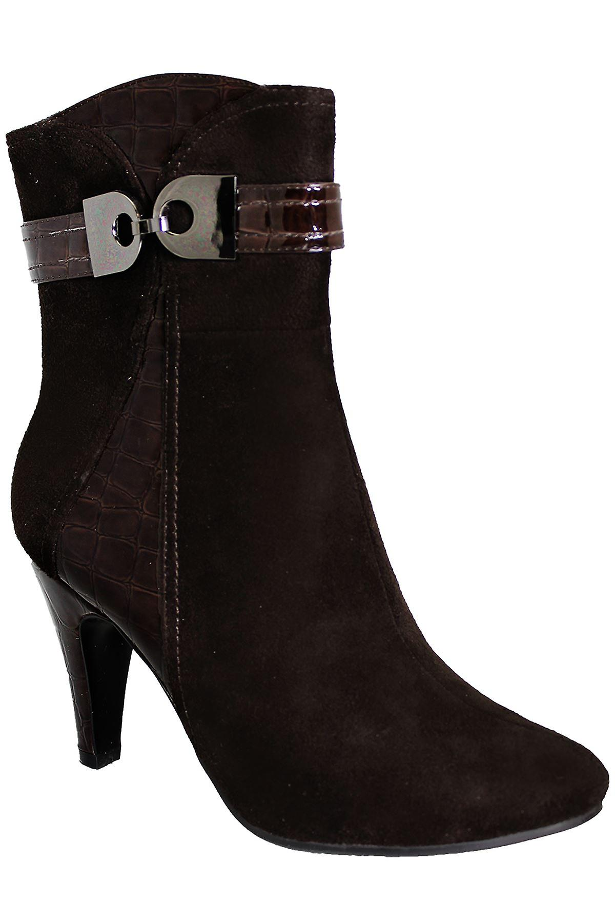 Ladies Patent Contrast Warm Suede Buckle Accent Women's Ankle Heel Boots