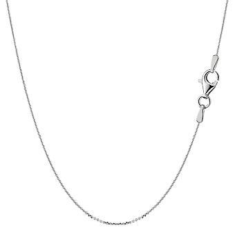 Sterling Silber Rhodium plattiert Kabel Kette Halskette, 0,6 mm