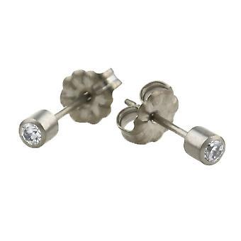Ti2 titaani keskipitkällä Diamond asettaa korvakorut - Silver
