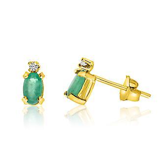 LXR 14K keltainen kulta soikea smaragdi ja timantti korvakorut 0.3ct