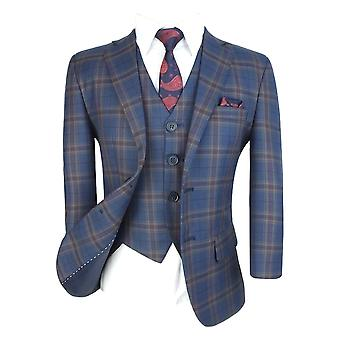 Boys Tailored Fit English Check Suit Navy Blue with Gold and Maroon