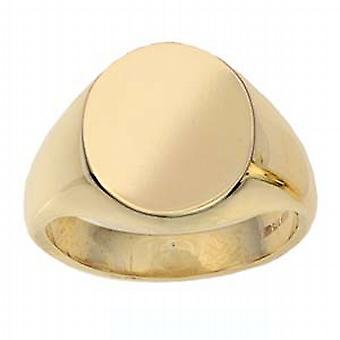 9ct arany 16x14mm szilárd sima ovális Signet Ring méret W