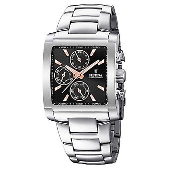 Festina | Mens Stainless Steel Chronograph | Zwarte/Rose Dial | F20423/4 Watch