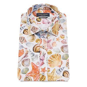 Guia Londres conchas coloridas puro algodão manga curta camisa dos homens