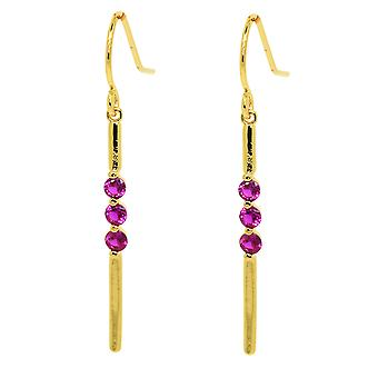 Ah! Jewellery Dangle Earrings With Fuschia Crystals From Swarovski