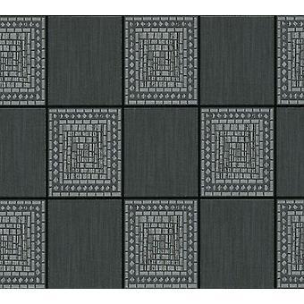 Mosaik Fliesen Tapete schwarz grau silber Metallic Glitter Schimmer A.S Creation
