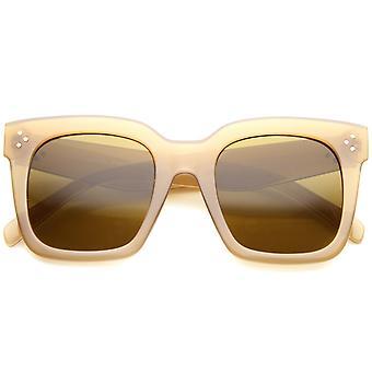 Vet oversize getinte platte lens vierkante hoorn omrande zonnebril 51mm