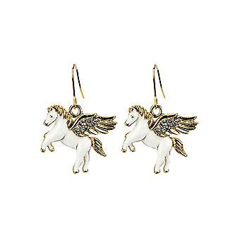 Unicorn emalj och kristall glas Drop örhängen
