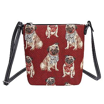 Pug shoulder sling bag by signare tapestry / sling-pug