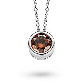 PENDANT WITH CHAIN 925 SILVER COFFEE ZIRCONIUM