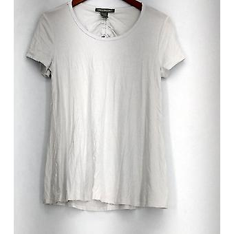 Kate & Mallory Short Sleeve Scoop Neckline Top w/ Tie Back White A432243
