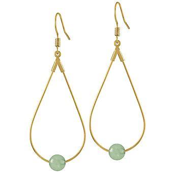 Eeuwige collectie eclectische groene Agaat gouden Toon druppel traan piercing oorbellen
