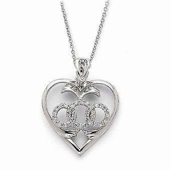 925 Sterling Silver polerad gåva Boxed Spring Ring Rhodium pläterad CZ Cubic Zirconia Simulerad Diamond Labor of Love 18i