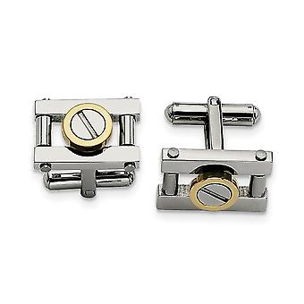 Stainless Steel Polished Yellow IP plated With Gold IPG Cuff Links Jewelry Gifts for Men