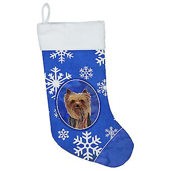 Carolines Treasures  SC9365-CS Yorkie Winter Snowflakes Christmas Stocking SC936