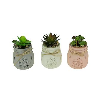 Artificial Tropical Succulents in Painted Glass Mason Jar Planters Set of 3