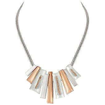 Eternal Collection Contempo Two Tone Gold And Crystal Statement Necklace