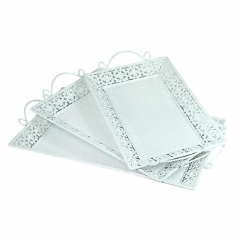 Decorative Metal Tray With Handle, Set Of 3, White
