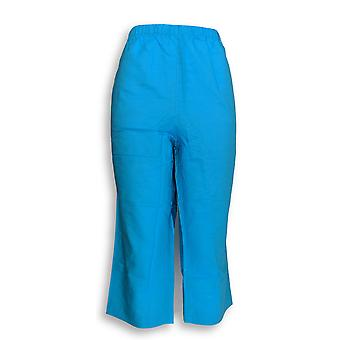 Susan Graver Donne's Pantaloni Biancheria Blend Comfort Vita Azzurra A273169