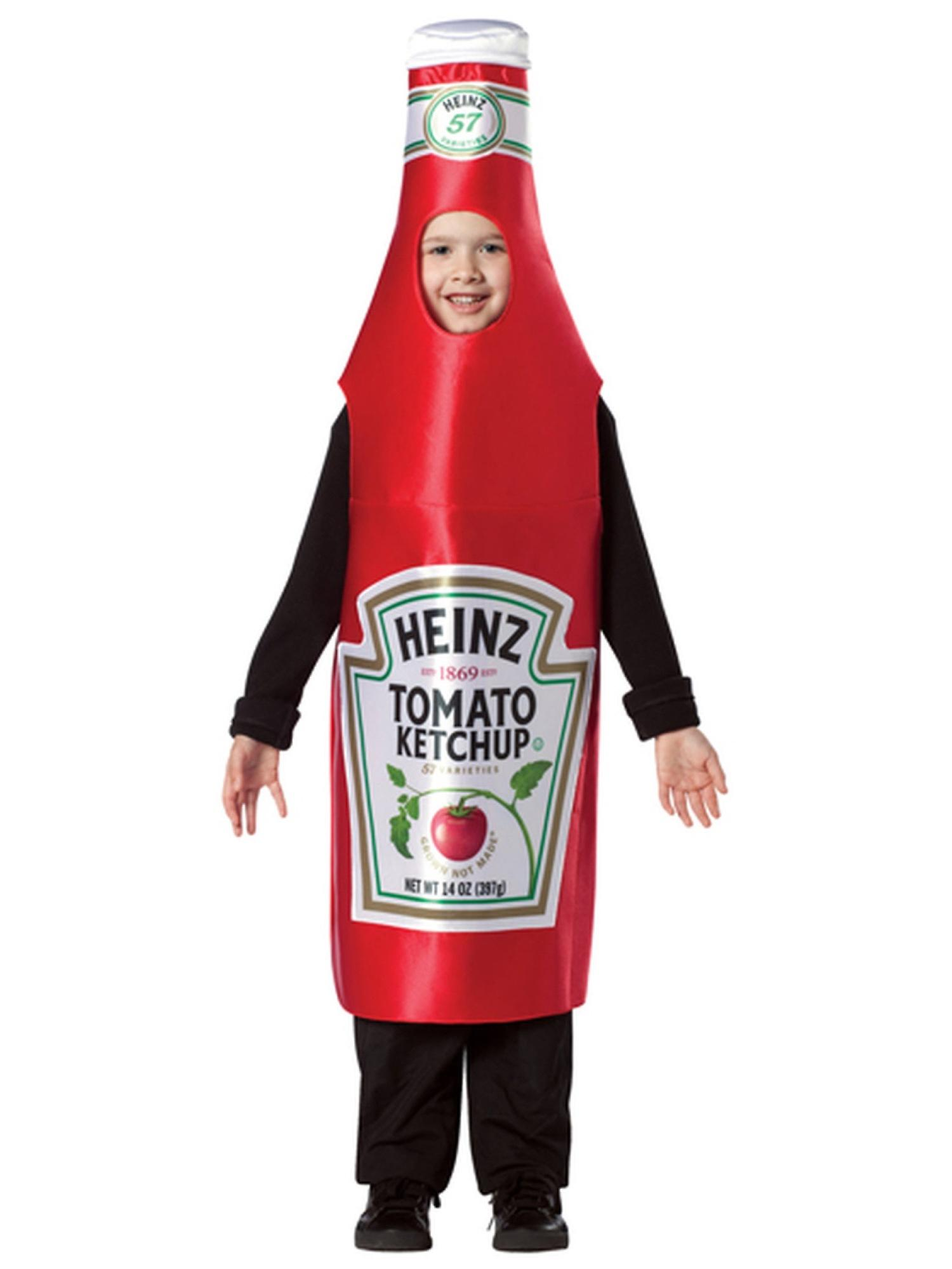 Heinz Ketchup Classic Bottle Red Tomato Sauce Condiment Child Boys Costume 7-10