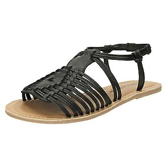 Ladies Leather Collection Flat Strappy Sandals F00159
