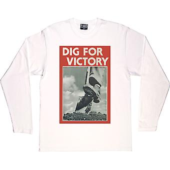 Dig For Victory White Long-Sleeved T-Shirt