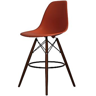 Charles Eames Style Brick Red Plastic Bar Stool - Walnut Legs