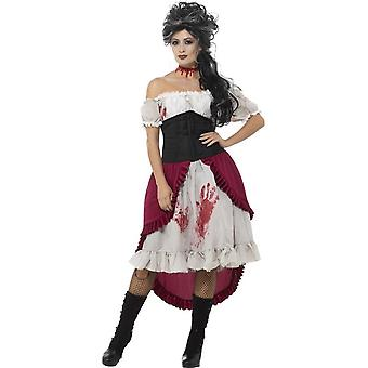Victorian Slasher Victim Costume, Grey, with Dress, Corset & Attached Overskirt