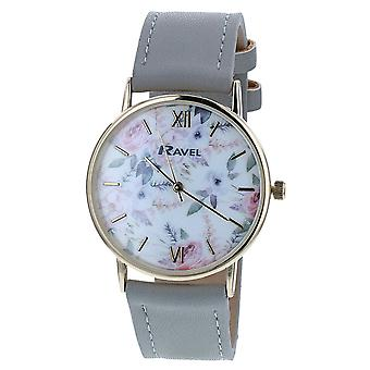 Ravel Ladies - Womens White Dial &  Grey PU Buckle Strap Watch R0134.02.2