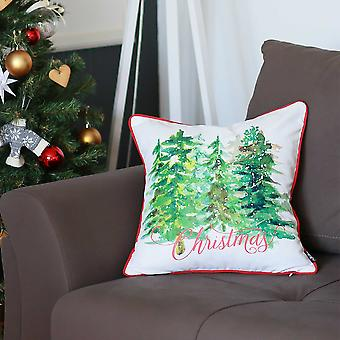 """18""""x18"""" Christmas Trees Printed Decorative Throw Pillow Cover"""