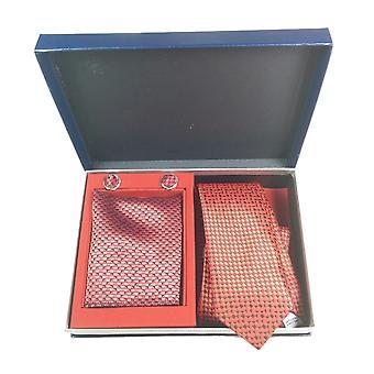 Tie, Cufflink & Hankerchief Set Exlusive Milan Collection 100% Hand Made Navy With Red Pattern
