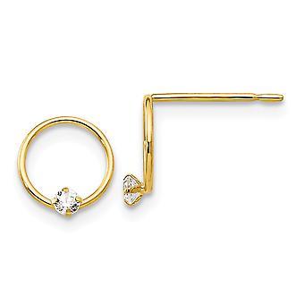 14k oro amarillo pulido Madi K CZ zirconia cúbica diamante simulado para niños o niñas Círculo Post Pendientes Mide 8x8m