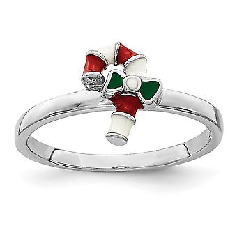 925 Sterling Silver Rhodium plated for boys or girls Enameled Candy Cane Ring - Ring Size: 3 to 4