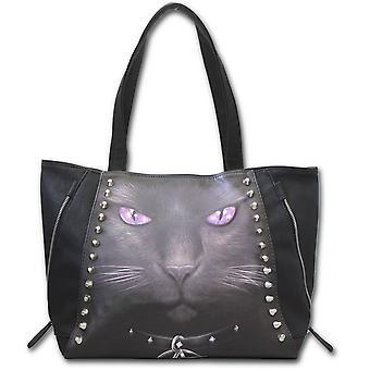 Spiral svart katt översållad Tote Bag