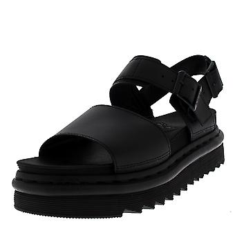 Womens Dr Martens Voss Hydro Leather Black Flatform Chunky Cut Out Sandal