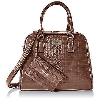 Bessie London Gold Metal Clasp Croc Tote - Brown Women's Bags (Coffee) 15x26x33cm (W x H L)