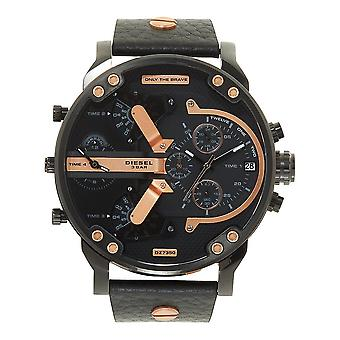 Relojes diésel Dz7350 Mr Daddy 2.0 Black Leather Chronograph Men's Reloj