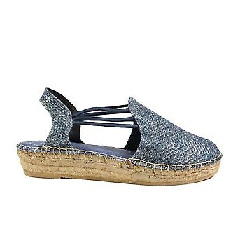 Toni Pons Noa-S Navy Glittery Textile Womens Pull On Espadrille Shoes