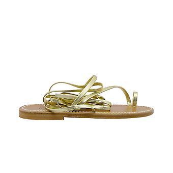 K.jacques Elladalameplatine Women's Gold Leather Flip Flops