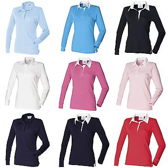 Front Row Womens/Ladies Long Sleeve Plain Sports Rugby Polo Shirt