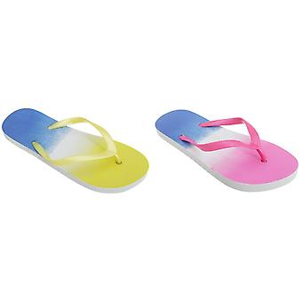 FLOSO Womens/Ladies Two Tone Colour Fade Toe Post Flip Flops