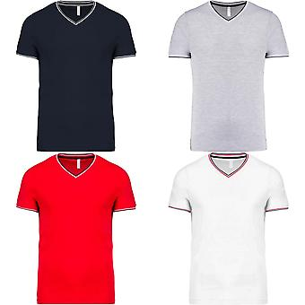 Kariban Mens derrubado Pique V pescoço t-shirt