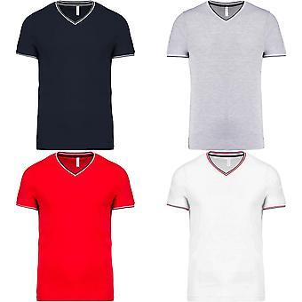 Kariban Mens Tipped Pique V Neck T-Shirt