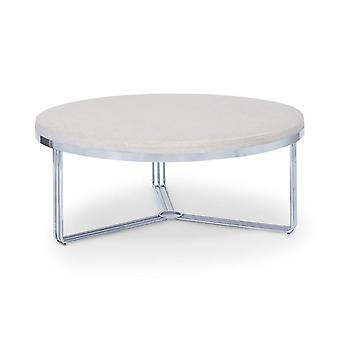 Gillmore Deco - Large Circular Coffee Table With Upholstered Top And Frame Colour Options