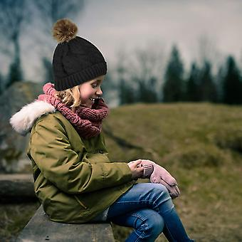 Whiteleopard Kid Beanie Hats Lining Pom Pom for Children -Slouchy Cable Knit ...