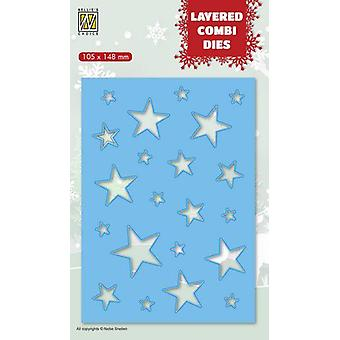 Nellie's Choice Layered Combi Die Christmas stjärnor (Layer B) LCDCS002 105x148 mm