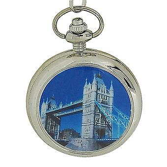 Reflex London Bridge voorkant ontwerp Gents zilveren Toon Pocket Watch 141094SP