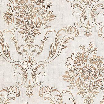 Avalon Manor Floral Damask Wallpaper Copper / Bege Fine Decor DL21443
