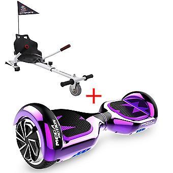 MM6 Hoverboard Self Balanced Elektroroller LED mit Kart-Chrom lila
