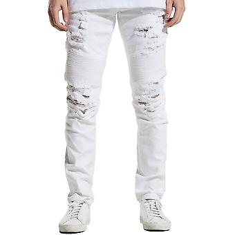 Embellish Smithers Biker Denim Jeans White